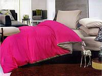Однотонное постельное белье евро размера ярко розовое с серым