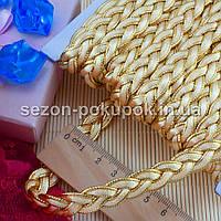 """(≈15м) Тесьма  """"Косичка беж+золото""""  ширина  11мм Цена за упаковку, фото 1"""