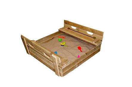 Детская деревянная песочница, 100*100 с крышкой , фото 2