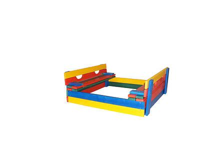 Детская деревянная песочница, 100*100 с крышкой цветная, фото 2
