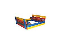 Детская деревянная песочница, 100*100 с крышкой цветная, фото 3