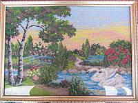 "Картина из бисера ""Два лебедя"" (ручная работа) 40х30см, 600 грн"