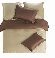Однотонное постельное белье евро размера бежевое с коричневым