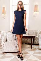 Короткое Нежное Платье на Лето Рукава Крылышки Темно-Синее S-XL, фото 1