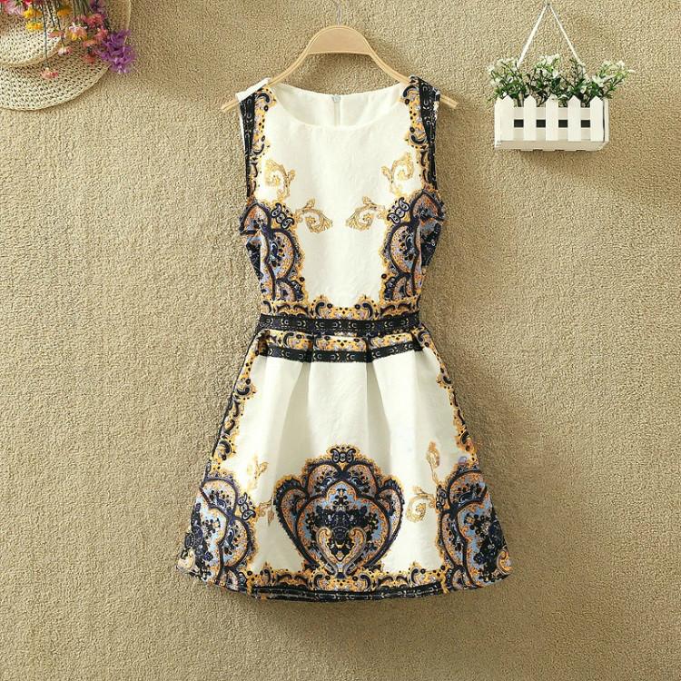 Платье женское жаккардовое с винтажным принтом синим