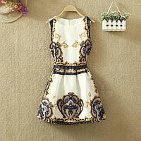 Платье женское жаккардовое с винтажным принтом синим, фото 1