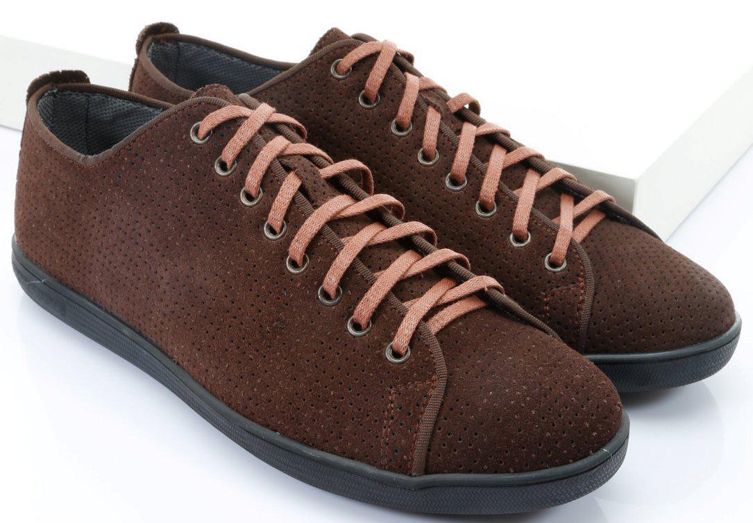 Коричневые замшевые кеды на шнуровке