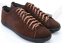 Коричневые замшевые кеды на шнуровке, фото 1