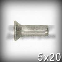 Заклёпка Ø5х20 алюминиевая ГОСТ 10300-80, DIN 302, DIN 661 с потайной головкой