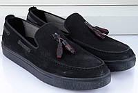 Черные модные мужские мокасины, фото 1