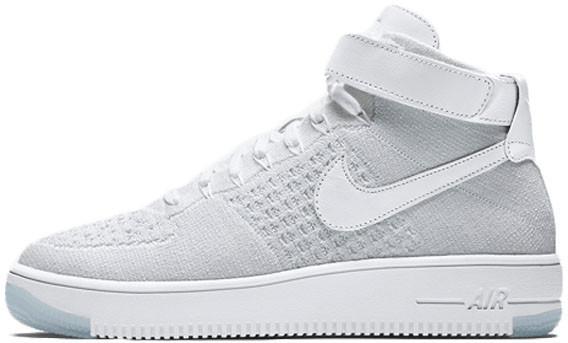 56d36cb2 Женские кроссовки Nike Air Force 1 Mid Ultra Flyknit White Pure Platinum -  Магазин обуви с