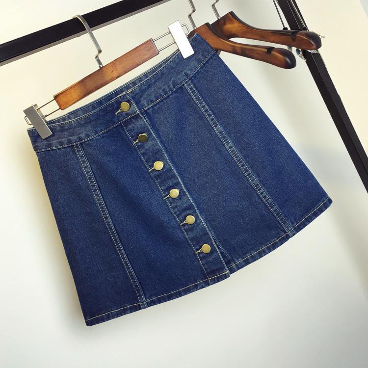Джинсовая женская юбка трапеция на пуговицах темно синяя