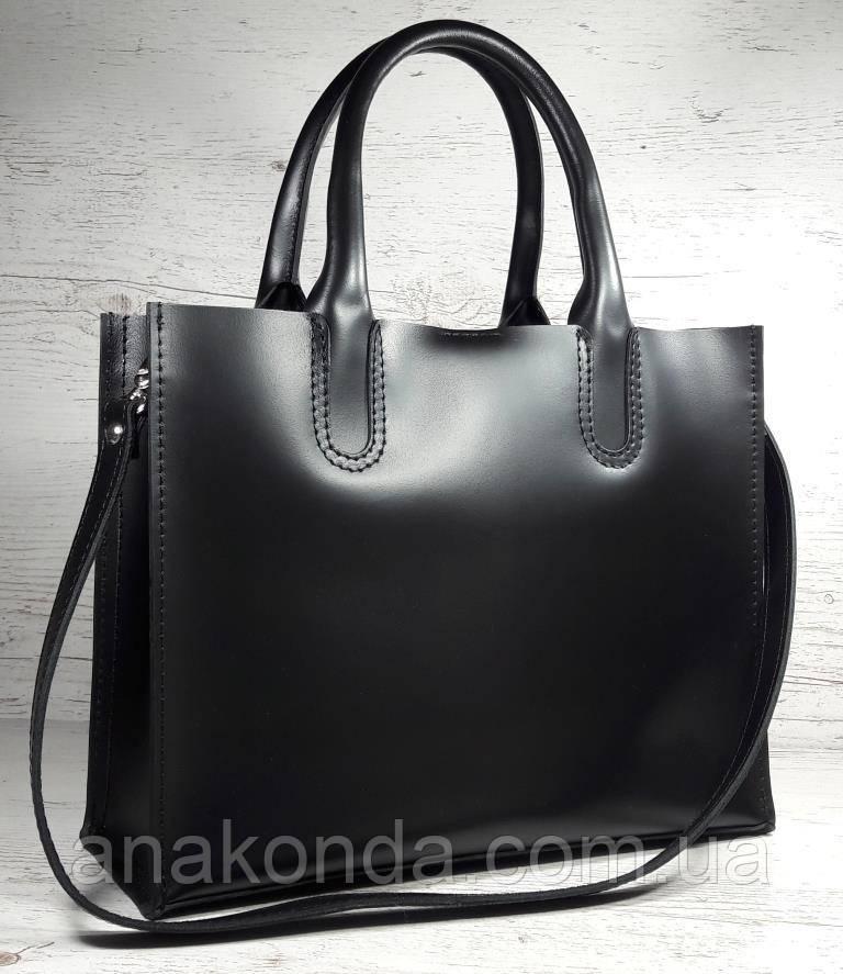 71 Натуральная кожа Женская сумка черная формат А4 сумка женская кожаная черная натуральная на подкладке