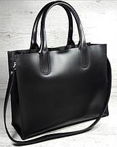 71 Натуральная кожа Женская сумка черная формат А4 сумка женская кожаная черная натуральная на подкладке, фото 2