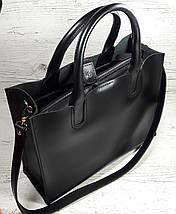 71 Натуральная кожа Женская сумка черная формат А4 сумка женская кожаная черная натуральная на подкладке, фото 3