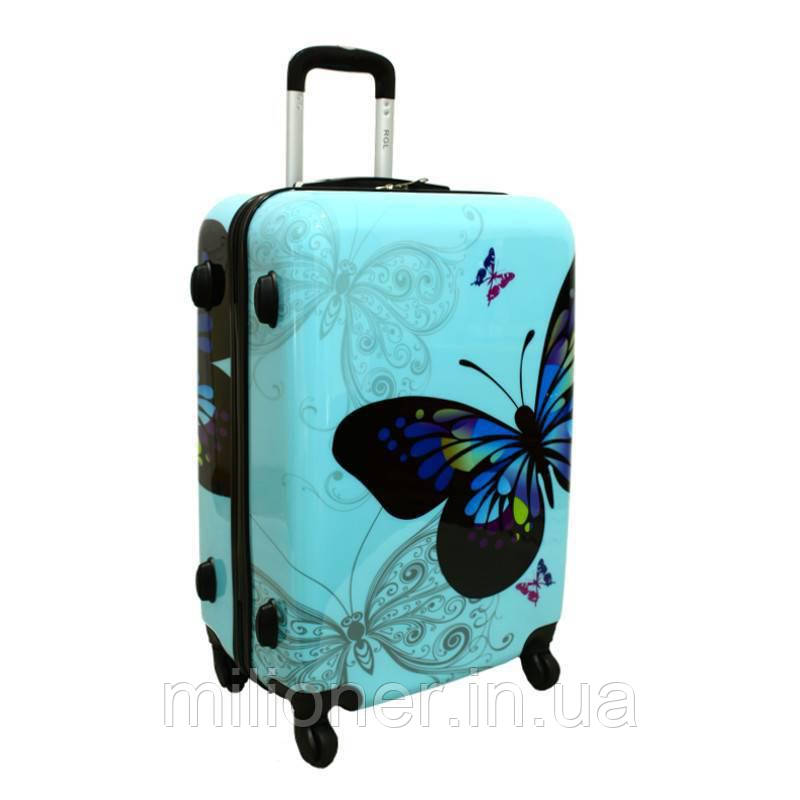 Чемодан сумка RGL (небольшой) бабочка (синий)