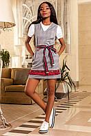 Модное Летнее Платье с Бахромой под Gucci в Красную Клетку S-XL , фото 1