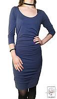 Платье синее до колен р. S/M 42 44 46 трикотаж коттон весеннее обтягивающие