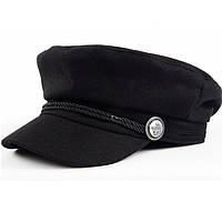Женский картуз, кепи, фуражка с канаткой черный, фото 1