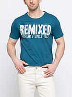 Синяя мужская футболка LC Waikiki / ЛС Вайкики с надписью на груди Remixed, фото 1
