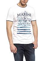 Белая мужская футболка LC Waikiki / ЛС Вайкики с надписью на груди Marine