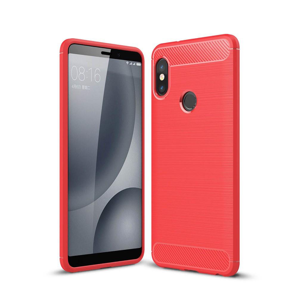 Чехол накладка для Xiaomi Redmi Note 5 Pro   Xiaomi Redmi Note 5   Xiaomi Mi 6X силикон Carbon, красный