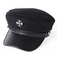 Женский картуз, кепи, фуражка с брошью черный, фото 1