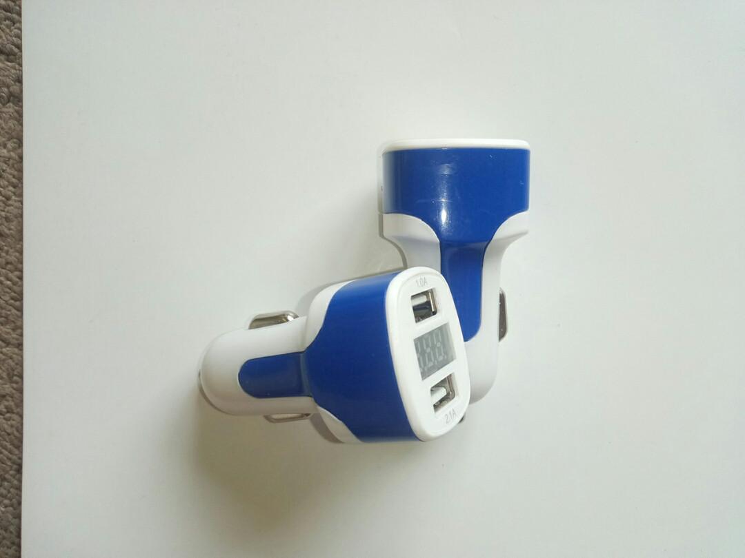 Зарядка USB в прикуриватель на 2 выхода (ток, напряжение), автомобильная зарядка USB 3в1,  3.1A