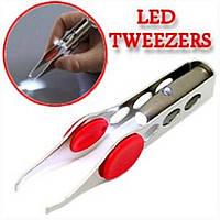 Пинцет для ресниц и бровей с LED подсветкой
