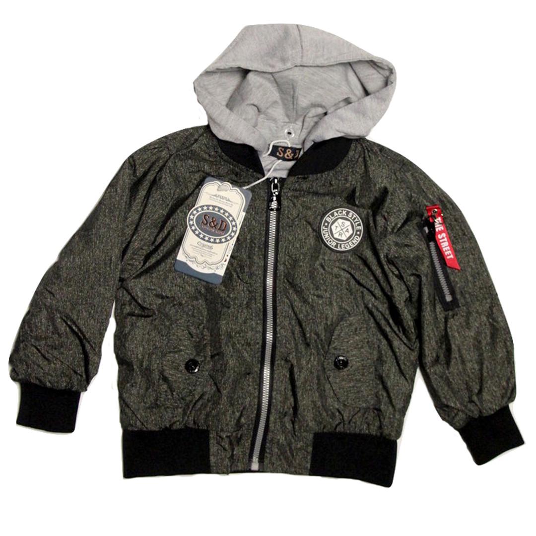 Модна легка куртка бомбер на малюка 80-86 зросту сіра
