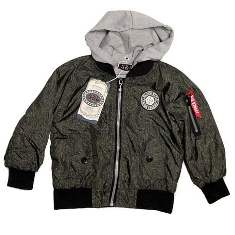 Модна легка куртка бомбер на малюка 80-86 зросту сіра, фото 2