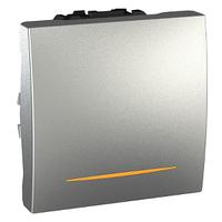 Выключатель с подсветкой 16А Алюминий Unica Schneider, MGU3.261.30S