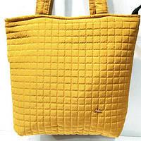 Женские стеганные сумки дешево опт (горчица)31*34, фото 1