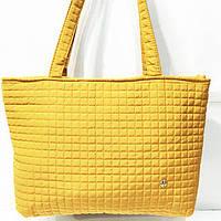 Женские стеганные сумки дешево опт (горчица)31*48, фото 1