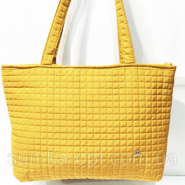 Женские стеганные сумки дешево опт (горчица)31*48