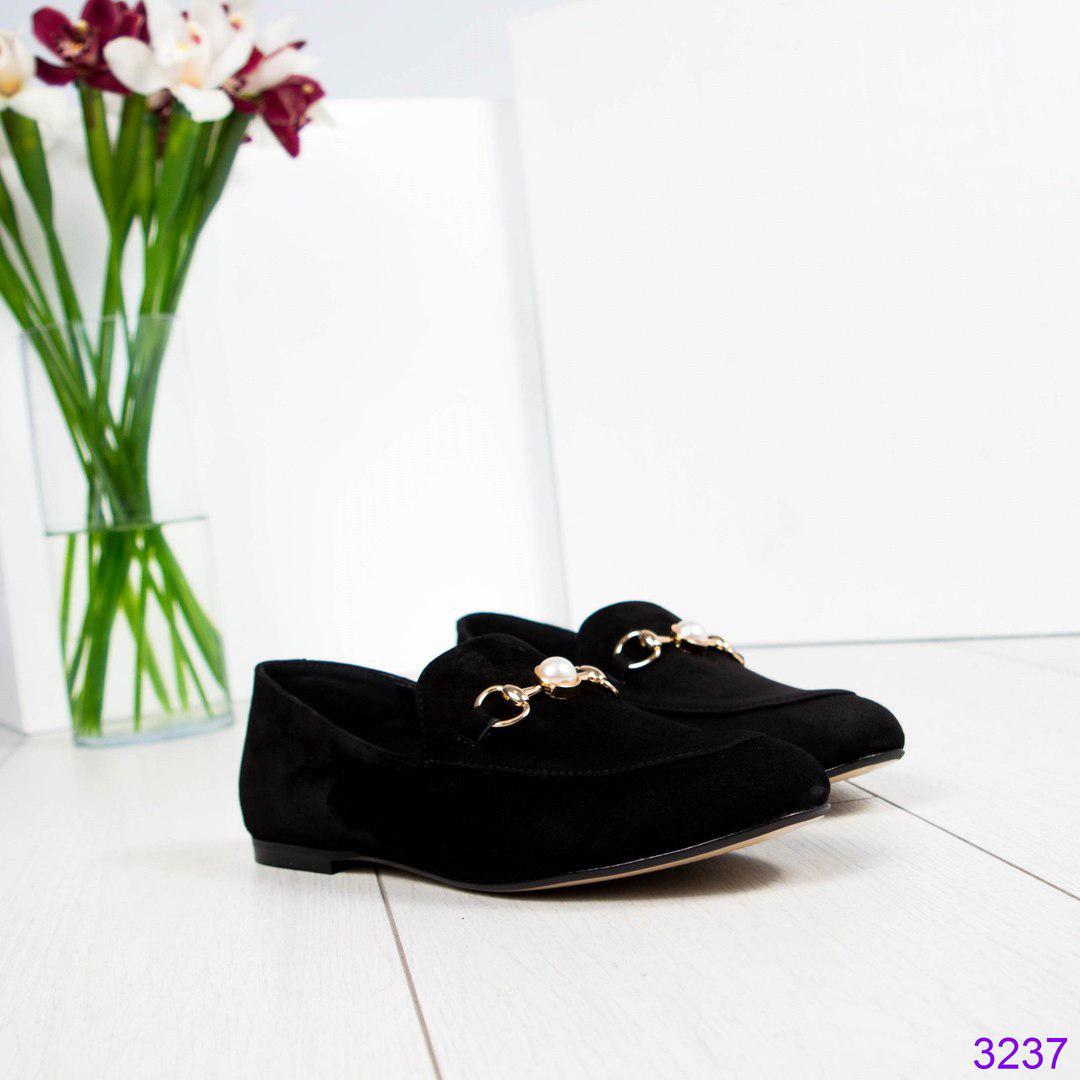 Лоферы женские замшевые с деромо черные