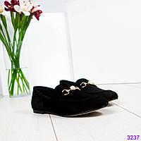 Лоферы женские замшевые с деромо черные, фото 1
