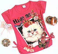 """Футболка """"Кошечка"""", коттон, размер 5-8 лет, розовый с принтом"""