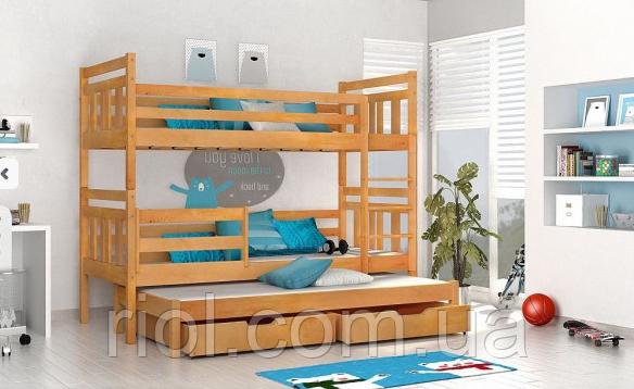Кровать двухъярусная из массива бука Джосси с дополнительным спальным местом