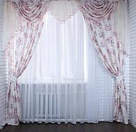 """Комплект ламбрекен  со шторами  из ткани лён """"Прованс"""" 063лш220, фото 1"""