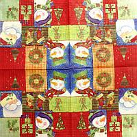 """Салфетка декупажная 33x33см 26 """"Снеговик, Дед Мороз и подарки"""""""