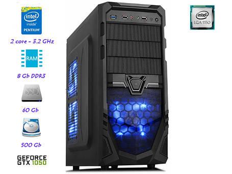 Игровой компьютер Pentium G3420 (3,2ГГц)LGA1150/8GB/SSD 60GB/HDD 500GB/GTX 1050 2GB, фото 2