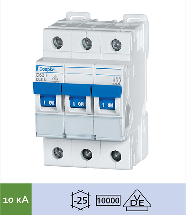 Автоматический выключатель Doepke DLS 6i C16-3 (тип C, 3пол., 16 А, 10 кА), dp09916293