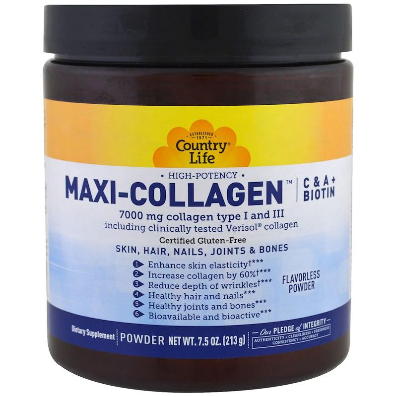 Country Life, Maxi Коллаген, витамины C и A плюс биотин, высокоэффективный порошок без запаха, 7.5 унций (213