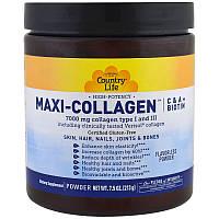 Country Life, Maxi Коллаген, витамины C и A плюс биотин, высокоэффективный порошок без запаха, 7.5 унций (213, фото 1