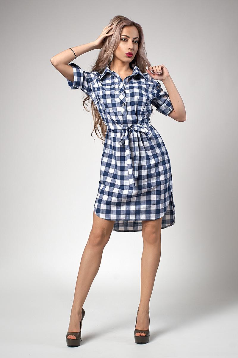 Стильное женское платье-рубашка в сине-красную клетку  продажа 28598d0f02701