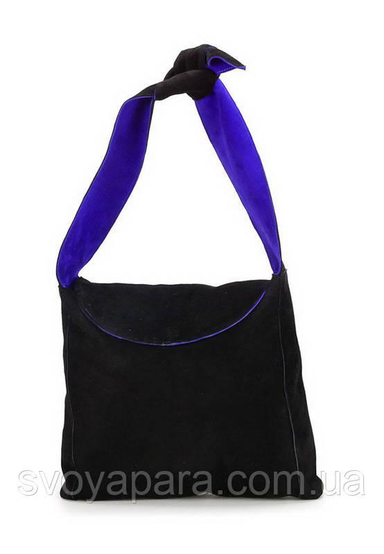 Женская сумка двухсторонняя из замши чёрного цвета и замши фиолетового цвета