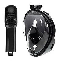 Маска для снорклинга полнолицевая Free Breath с креплением под экшн-камеру S/M, Черный