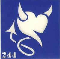 Трафарет для тату (биотату) № 244 СЕРДЦЕ - ДЬЯВОЛЕНОК
