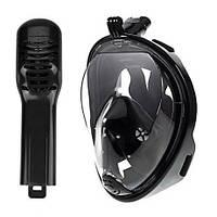 Маска для снорклинга полнолицевая Free Breath с креплением под экшн-камеру Черный, L/XL